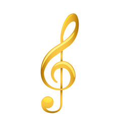 Treble clef in golden with background white vector