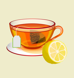 Cup on saucer with tea bag water and fresh lemon vector