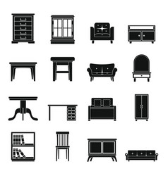Set flat black silhouette office and house vector