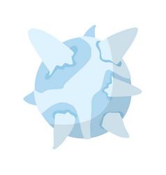 Uranus isolated cartoon style ice planet of solar vector