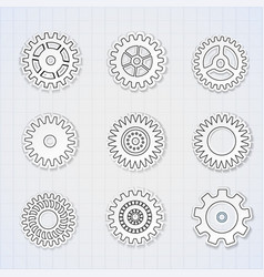 Gears black white icons set vector