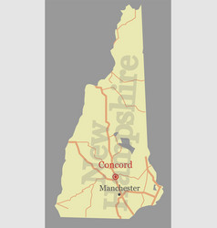 new hampshire state map with community vector image