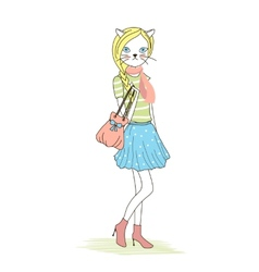 Cute anthropomorphic fashion kitten vector image