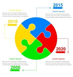 Infographics report templates in sphere of jigsaw vector