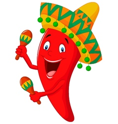 Chili cartoon playing maracas vector
