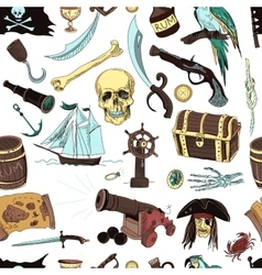 Colored pirates pattern hand drawn vector