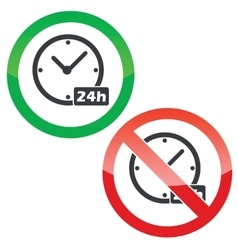 24h workhours permission signs set vector