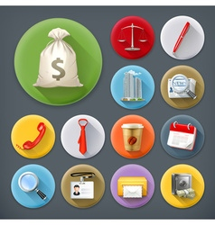 Business and office long shadow icon set vector