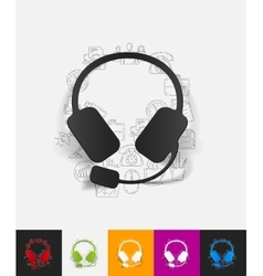 Headphones paper sticker with hand drawn elements vector