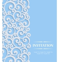 3d blue vintage invitation card with floral vector