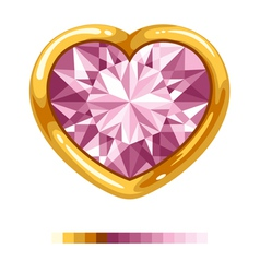 Pink diamond heart vector
