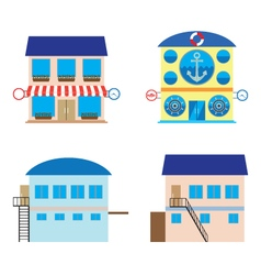 Facade of shop sea food store and warehouses vector