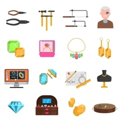 Jeweller icons set vector