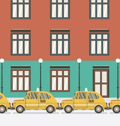 Flat design yellow taxi vector
