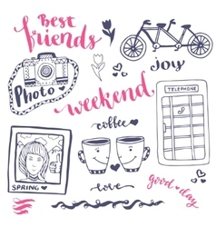 Weekend sketch art romantic set of hand drawn vector