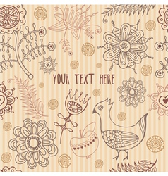 Retro Floral Bird Pattern vector image