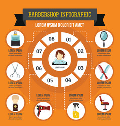 Barbershop infographic concept flat style vector