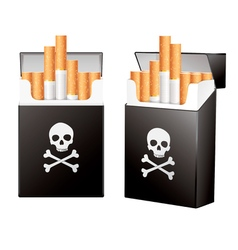 Black pack of cigarettes with the image of the vector