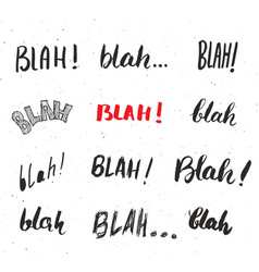 Blah blah words hand written set isolated on vector