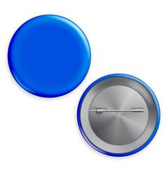 Blank blue badge circle button badge set vector