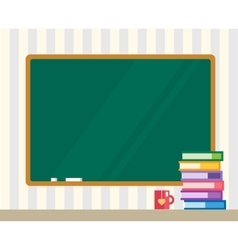 Books on desk clean board back to school vector