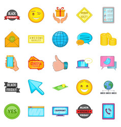 Business program icons set cartoon style vector