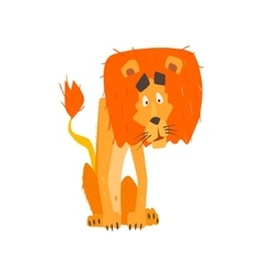 Confused lion flat cartoon stylized vector