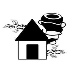 Contour house with twister and wind leaves natural vector