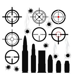 Crosshairs gun sights bullet cartridges and bullet vector image vector image