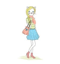 Cute anthropomorphic fashion kitten vector