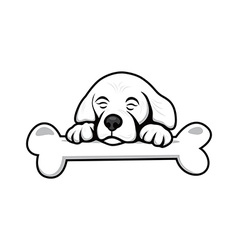 Cute little puppy with bone vector