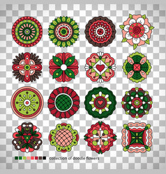 doodle collection of ethnic flowers vector image vector image