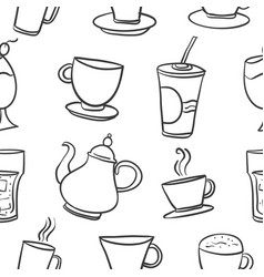 Doodle various drink theme collection vector
