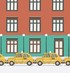 Flat Design Yellow Taxi vector image vector image