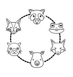 line set cute heads wilds animals design vector image vector image