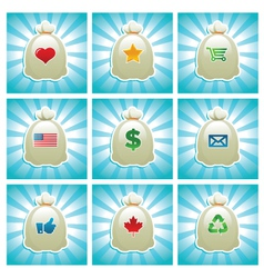 Mail bags with various icons vector
