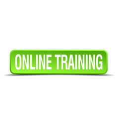 Online training green 3d realistic square vector