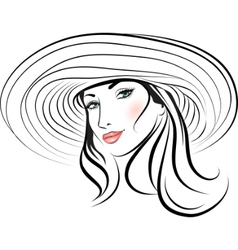 pretty girl with hat vector image vector image