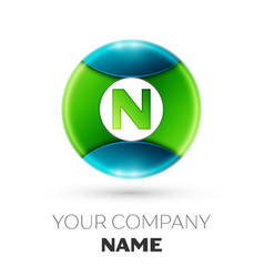 Realistic letter n logo symbol in colorful circle vector