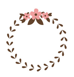 Round wreath flower leaves emblem decoration vector