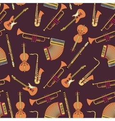 Seamless pattern with different music instruments vector image