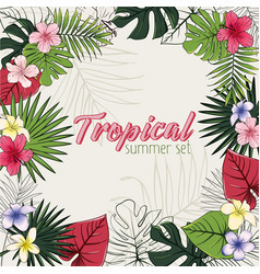 set of of tropical flowers and vector image vector image