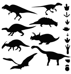 Symbols of dinosaurs and dinosaur footprints vector