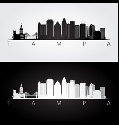 tampa usa skyline and landmarks silhouette vector image