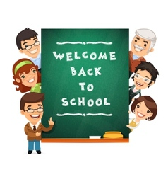 Teacher points to the blackboard with welcome back vector
