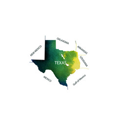 Texas watercolor territory us state of texas vector