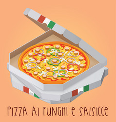 The real pizza ai funghi e salsicce pizza with vector