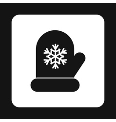Mitten with snowflake icon simple style vector