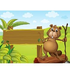 Cartoon Beaver Signboard vector image