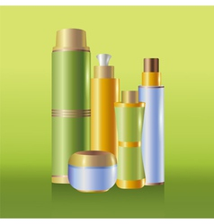 Set of green skin care cosmetics vector